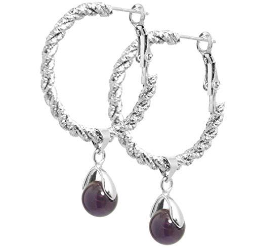 2LIVEfor Purple Ohrringe Naturstein Echt Purple Ohrringe Creolen Lila lang hängend mit echten Perlen Kugeln Amethyst Ohrhänger Hoops Hoop Ohrringe Reifen Ringe Groß