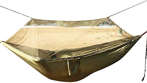 ZHENAO Camping Hammock Parachute, Portable Pop-Up Haven Tent,with Tree Straps Easy to Carry Weatherproof,for Backpacking Travel Beach Patio,Brown Comfort & Durability/Brown