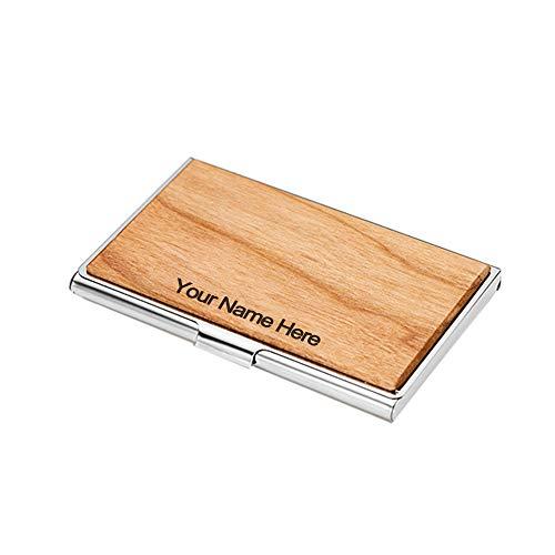 MaquiGra Titular de la Tarjeta de Visita de Metal Personalizado Estuche para Tarjetas de Visita de Madera Tarjetero de Acero Inoxidable Caja de Tarjeta de Visita Personalizado con Nombre