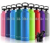 HoneyHolly Botella de agua aislada al vacío de acero inoxidable, diseño de pared doble, boca estándar 1000ML - sin bpa Botellas para correr, gimnasio, yoga, ciclismo