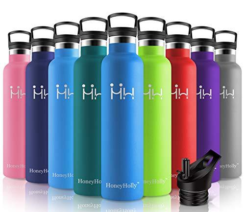 HoneyHolly Vakuum Isolierte Edelstahl Trinkflasche 1L, BPA Frei Wasserflasche Auslaufsicher Thermosflasche, Thermoskanne kohlensäure geeignet für Kinder, Kleiner, Schule, Sport