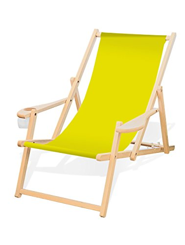 Holz-Liegestuhl mit Armlehne und Getränkehalter, Klappbar, Wechselbezug (Gelb (Zitronengelb))