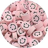 HJKND 30 unids/Lote de Cuentas sonrientes de 10mm, Cuentas espaciadoras de Arcilla, Cuentas de Arcilla polimérica para Hacer Joyas, Accesorios Hechos a Mano