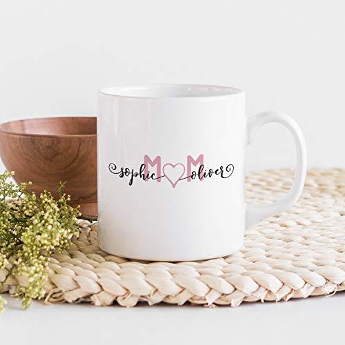 Taza personalizada para el día de la madre con nombres, taza personalizada para madre e hijos, taza personalizada para mamá e hijas