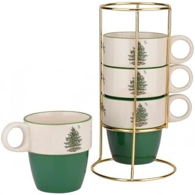 Spode Christmas Tree Set Of Four Mugs With Gold Metal Rack