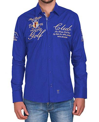 Redbridge RBC by Cipo & Baxx Herren Hemd Regular Fit mit Stickerei Freizeithemd Bügelfrei (4XL, Saxe Blau)