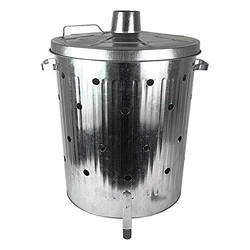 Feuertonne 75 Liter verzinkt I Gartenabfall schnell und einfach entsorgen I Feuerfass aus Metall | Garten Verbrennungstonne | Gartentonne | Gartenofen