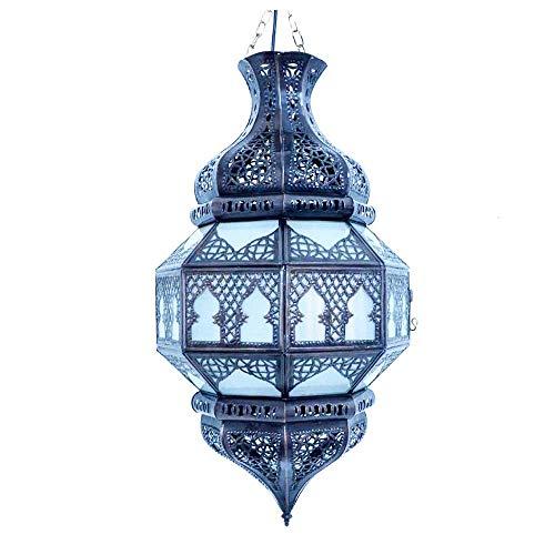 Orientalische Lampe Glaslampe Milchglas H 55 cm arabische marokkanische Deckenlampe Vintage Stil Design Marokkanisch Arabisch Orientalisch Handgemacht