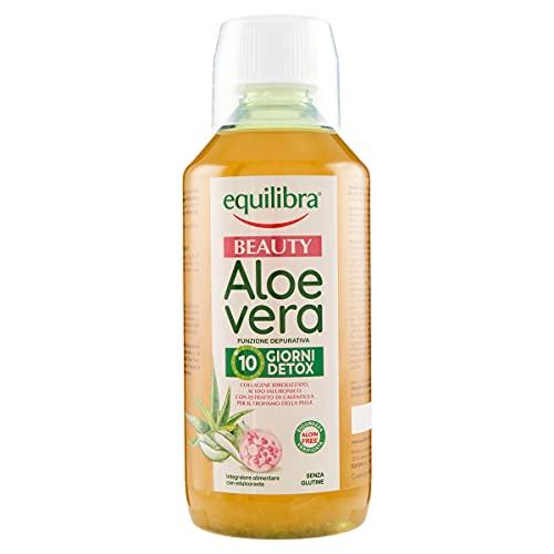 Equilibra Integratori Alimentari, Aloe Vera Beauty, Integratore a Base di Aloe Vera, Collagene, Acido Ialuronico e Calendula, per Una Pelle Tonica e Compatta, con Succo d'Arancia, Bottiglia da 500 ml