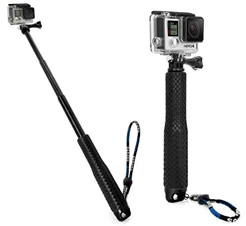MyGadget Action Kamera Teleskopstange Selfie Stick (wasserdicht) - Zubehör Stange mit Handgriff geeignet für GoPro Hero Black 8 7 6 5 4 3+ 3, Xiaomi Yi 4K - Schwarz