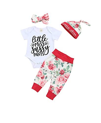 Sudadera para niña de manga larga con estampado floral con capucha, tops y pantalones, 2 piezas de ropa, flores, 0-3 Meses
