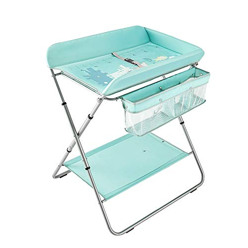 Lit Bébé, Table À Langer Portable, Table De Bain, Pliable, Réglable En Hauteur (bleu Clair)