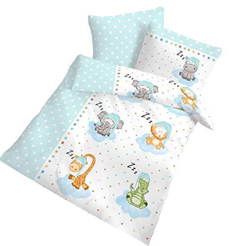 Ido Parure de lit pour enfant Motif animaux 40 x 60 + 100 x 135 cm