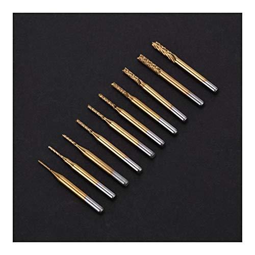 QWXZ Holzwerkzeuge 10pcs Titanium Fräser Coated 0.8mm-3.17mm Schaftfräser Engraving Bits Rotationsschneider 1/8 '' Shank PCB Cutter Stanzpositionierung
