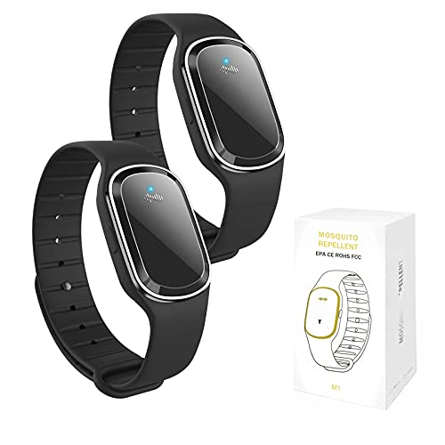 QU.SBEARY Ultrasonic Mosquito Repellent Bracelet Watch Electronic with USB Charging Waterproof Portable Smart Mosquito Anti-Mosquito Bracelet M1 (2 Pack, Black)