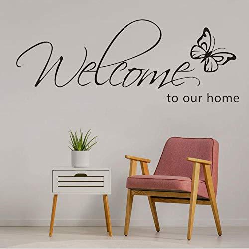 Fjsabfj Etiqueta de la pared 'Bienvenido a nuestro hogar' Texto S Decoración para el hogar Calcomanías para sala de estar Papel tapiz Dormitorio Pegatinas decorativas de mariposa 15X42Cm