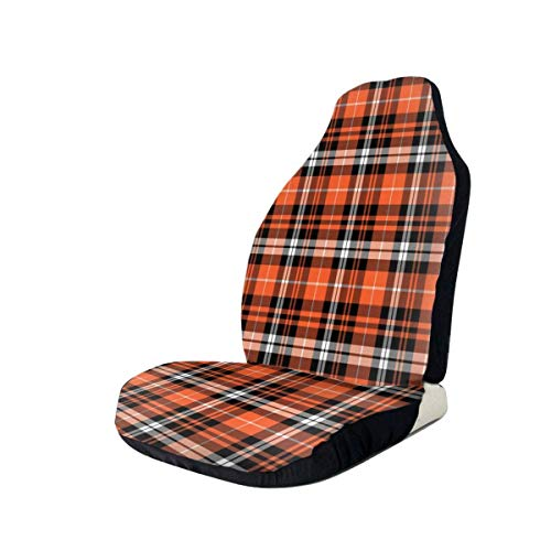 MosesYong Autositzüberzug Pumpkin Fall Plaid Orange Front Seats Cover 100% Polyester Car Decor Bucket Seat Cover Ultra Durable Dirt Resisted Automotive Seat Protector for SUVs Van Camper
