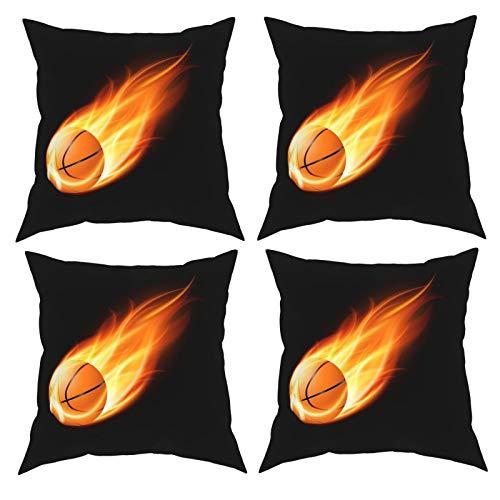 Sunzhenyu Juego de 4 fundas de almohada decorativas para baloncesto, 40 x 40 cm, fundas de cojín cuadradas, fundas de cojín para sofá, sala de estar