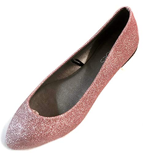 Shoes8teen Womens Ballerina Ballet Flat Shoes 8600 Rose Glitter 7