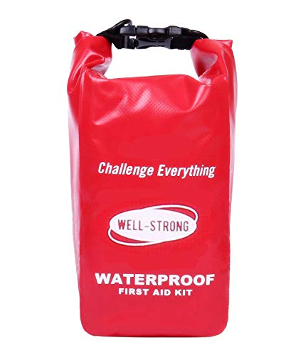 WELL-STRONG Waterproof First Aid Kit Light and Durable for Car, Sports, Travel, Survival, Emergency, Outdoor Camping, Fishing and Hiking Red