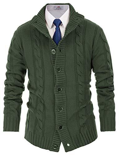 PJ PAUL JONES Men's Smart Casual Cardigan Sweater Stand Collar Twist Knitwear XL Army Green