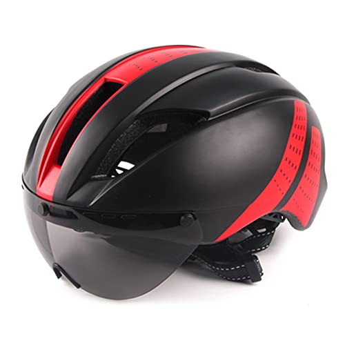 Casco de bicicleta, Lente Gafas magnéticas Casco Casco de carreras Casco de bicicleta con lentes extraíbles Sol Casco de ciclismo al aire libre Tiempo de prueba Tapa de seguridad para Montar en Bicicl