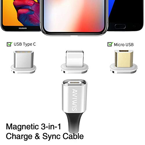Magnetisches Multi USB Kabel, AVIWIS 3 in 1Magnetic Schnellladekabel und Sync Datenkabel mit iP Micro USB Typ C Magnet Adapter für Android Galaxy S9 S8 S7 S6 S5 A3 A5, Huawei, Honor, Oneplus, Xiaomi