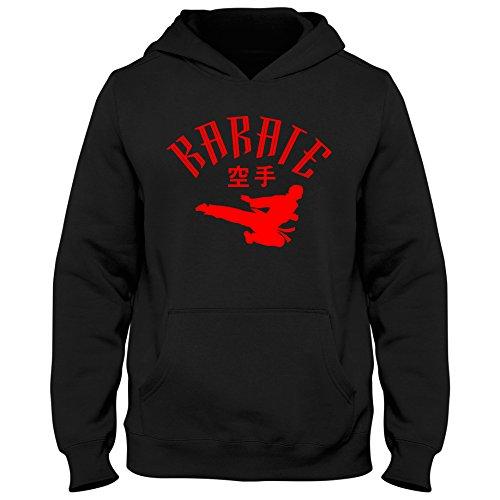Kinder Hoody Hoodie Karate Japan Shotokan Mixed Kampfsport Martial Arts Shirt, Farbe:schwarz/rot, Größe:7-8 Jahre (122-128cm)