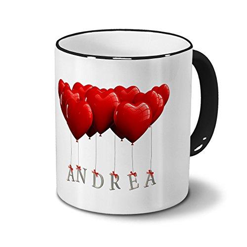 printplanet Tasse mit Namen Andrea - Motiv Herzballons - Namenstasse, Kaffeebecher, Mug, Becher, Kaffeetasse - Farbe Schwarz