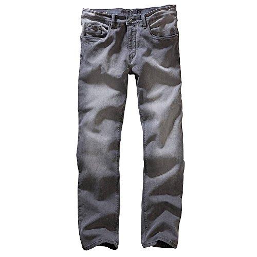 Carlo Colucci Herren Stretch 5-Pocket Trend Jeans Hose Mod. Enrico, Regular Gerade Hellgrau Midgrey Used (32/32)