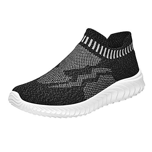 Zapatillas de Senderismo para Mujer Tejidas Ligeras y elásticas Transpirables para Caminar a la Moda, cómodas Zapatillas Deportivas Mary Jane (M37_Black,38)
