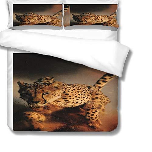 Bettbezug 3D Pattern Mikrofaser Bettwäsche Set 3 Stück,1 Bettbezug Mit Reißverschluss Und 2 Kissenbezug,Schlafkomfort,Gepard,140X200Cm