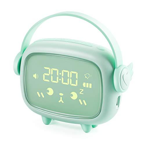 Despertador Digital Infantil, Despertador Recargable con Luz Nocturna, Reloj Despertador Digital Niños con Función Snooze Ideal para Dormitorio y Oficina