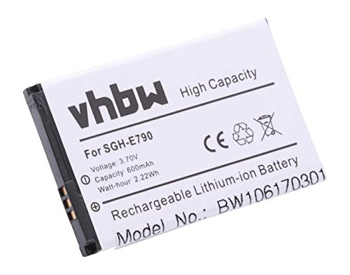 vhbw Akku passend für Samsung GT-E2550, GT-M3510, GT-S3500, GT-S3500c Handy Smartphone Handy (600mAh, 3,7V, Li-Ion)