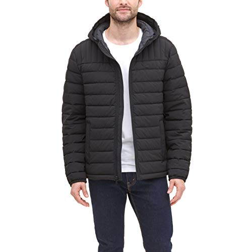 Dockers Men's The Liam Smart 360 Flex Stretch Quilted Hooded Puffer Jacket, Black, Large