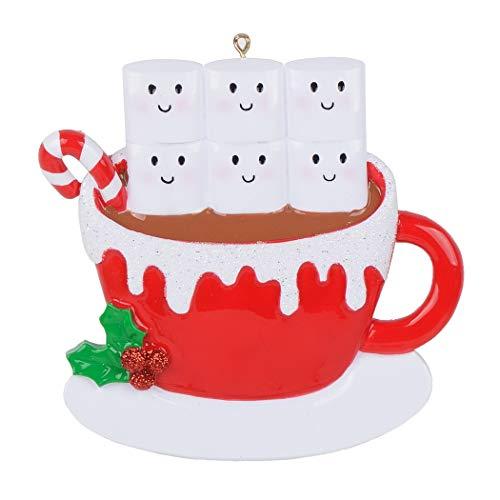 MAXORA Taza Personalizada de la Familia Marshmallow de 2019 con Adornos navideños, Familia de 6