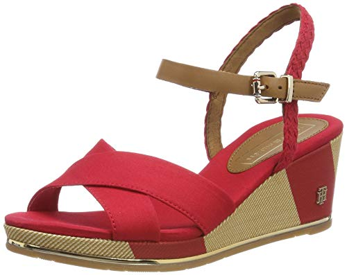 Tommy Hilfiger Printed Mid Wedge Sandal, Plateau Donna, Rosso (Tango Red 611), 40 EU
