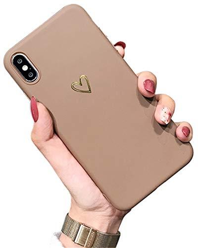 Ubeshine Funda para iPhone XS, funda Case creativo patrón 3D ultra fina TPU silicona teléfono móvil Bumper XS Chic Bling Corazón Resistente a los arañazos XS/X