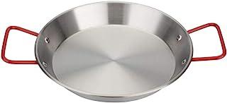 Hemoton Paellera de Acero Inoxidable Fideos de Pollo Frito Antiadherente Sartén Paellera de Grado Restaurante Suministros de Cocina (24 Cm)
