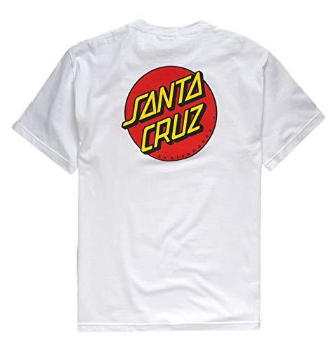 Santa Cruz Mens Classic Dot Regular Short-Sleeve Shirt Medium White