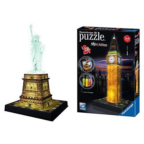 Ravensburger 12596 3D-Puzzle Freiheitsstatue bei Nacht &  12588 3D-Puzzle Big Ben bei Nacht