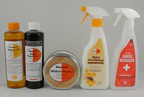 Renuwell Spar-Set Möbel Öl + Regenerator + Wachs + Schnellpflege + Swiss je 500 ml Set by Geizhaus24