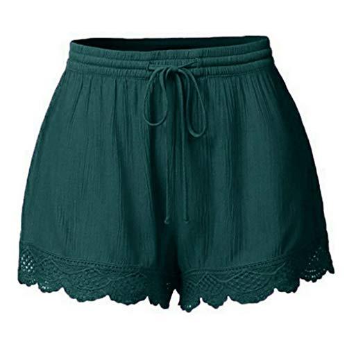 Ghemdilmn Pantalones cortos para mujer, cómodos, informales, con cordón, con bolsillos, holgados, transpirables, pantalones de deporte, sueltos, talla grande, verde, S