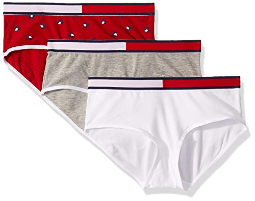 Tommy Hilfiger Big Girl's Girls' Hipster (Pack of 3) Underwear, white heart flag Hipster, L12/14