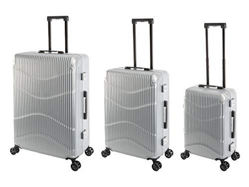 Travelhouse - NY Wave - 3er Koffer-Set, Polycarbonat Hartschalenkoffer, S-55, M-65, L75 cm, Design-TSA-Nummernschlösser, Alu-Rahmen, Silber