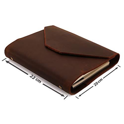 LLG a5 a6 Lederbinder, Notizbuch Leder Tagebuch, Executive Konferenzmappe, nachfüllbar mit 6-fach Ringbuch, Personal Organizer Ringbuch Leder Planer (BRAUN, a5 Abdeckung)