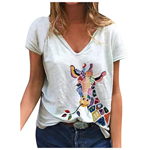 Xinantime Womens Summer Loose V-Neck Comfy Tops Cute Giraffe Soft Causal Short Sleeve Daily T-Shirt Top Blouse Tee (✩White,Large)