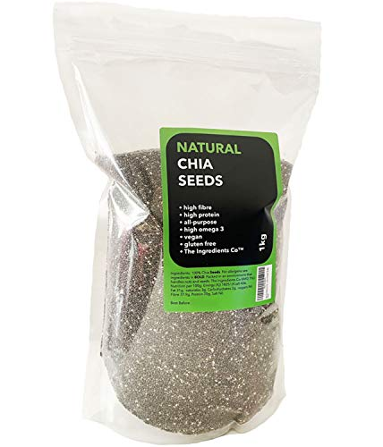 1kg Raw Chia Seeds, Premium Quality, 100% Natural, Vegan, Gluten Free, High in Fibre & Protein (Resealable and Recyclable Pouch)