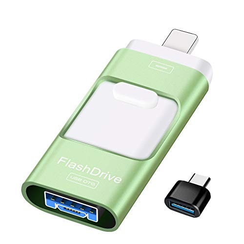 Sunany Flash Drive 128GB, USB Memory Stick External Storage Thumb Drive Compatible with iPhone, iPad, Android, PC and More Devices (Green)