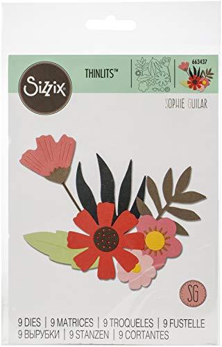 Sizzix Set di Fustelle Thinlits 663437 9 pz Fiori in Stile Libero by Sophie Guilar, Multicolore, taglia unica